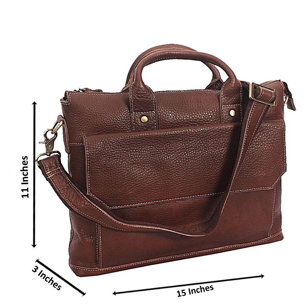 Brown Classic Hand Made Leather Tote Man Bag