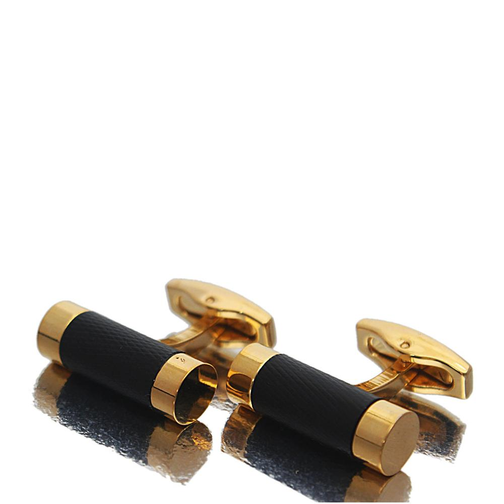 Gold Classic Black Band Stainless Steel Cufflinks