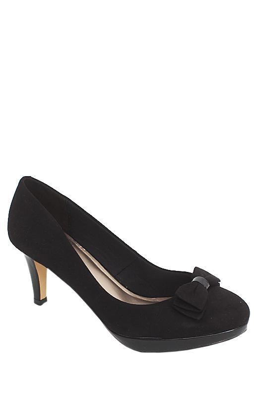 M & S Collection Black Suede Leather Heel Shoe