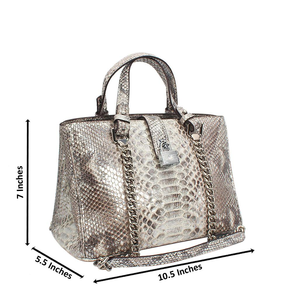 London Style Snake Skin Cow-Leather Tote Handbag