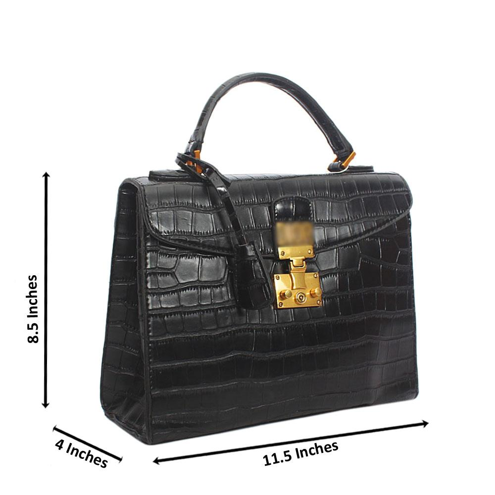 Black Croc Tandy Leather Top Handle Handbag
