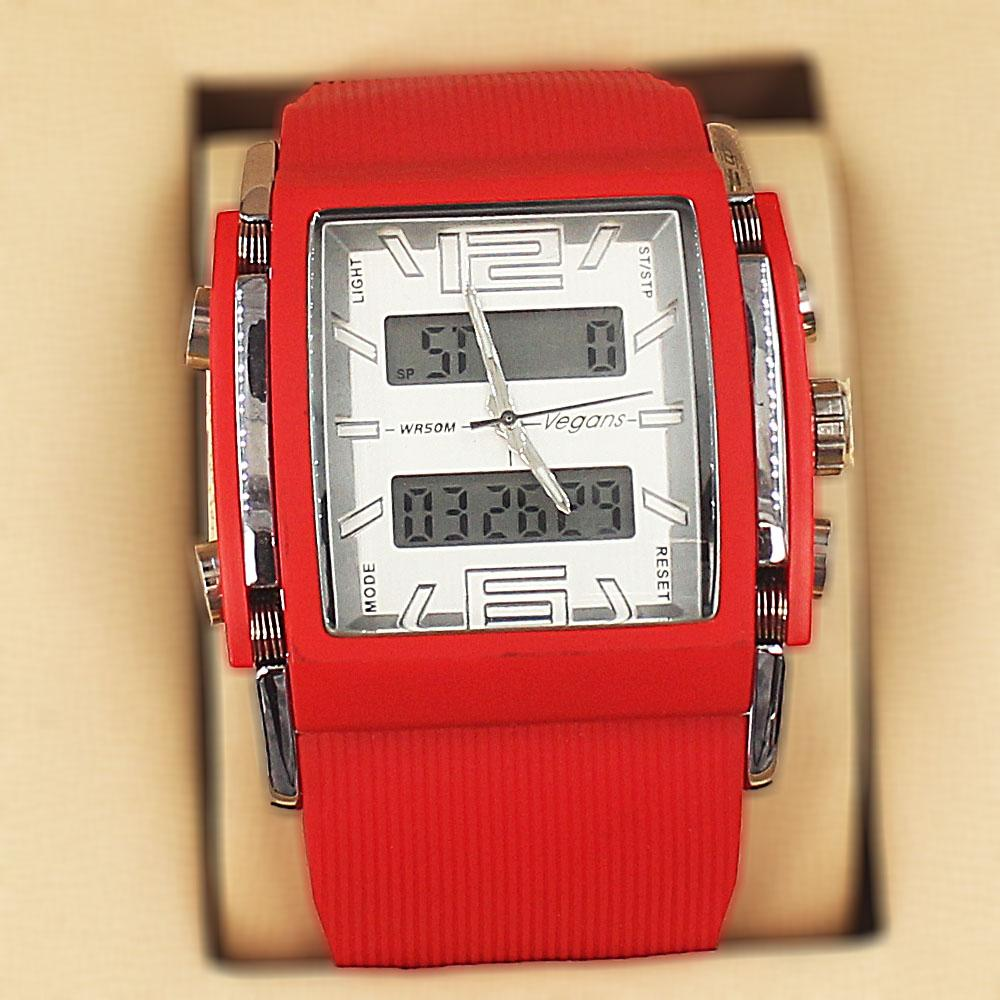 Vegans Red Rubber 5 ATM Water Resistant Analog Digital Watch