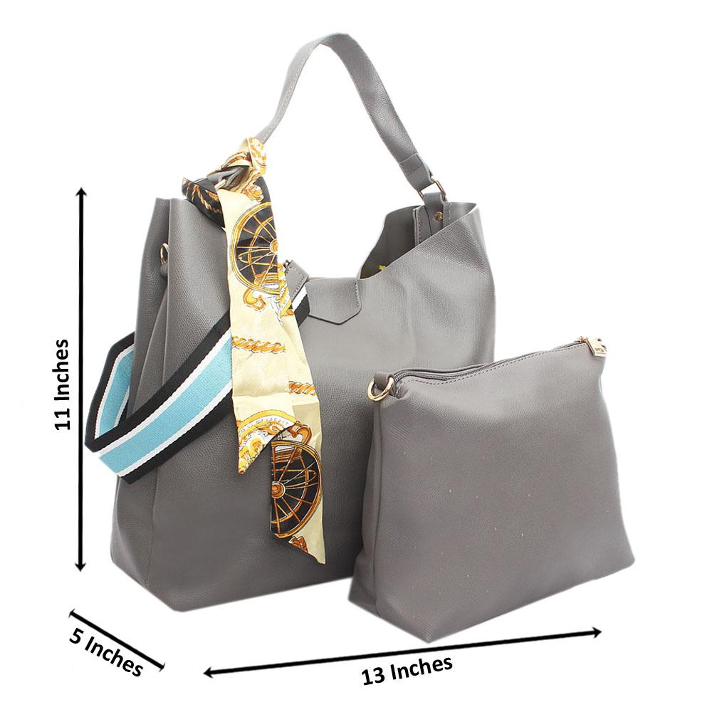 Grey Leather Anne 2 Straps Handbag