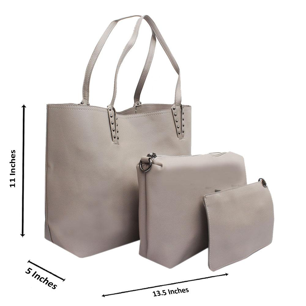 Beige Montana Leather Medium 3 in 1 Handbag