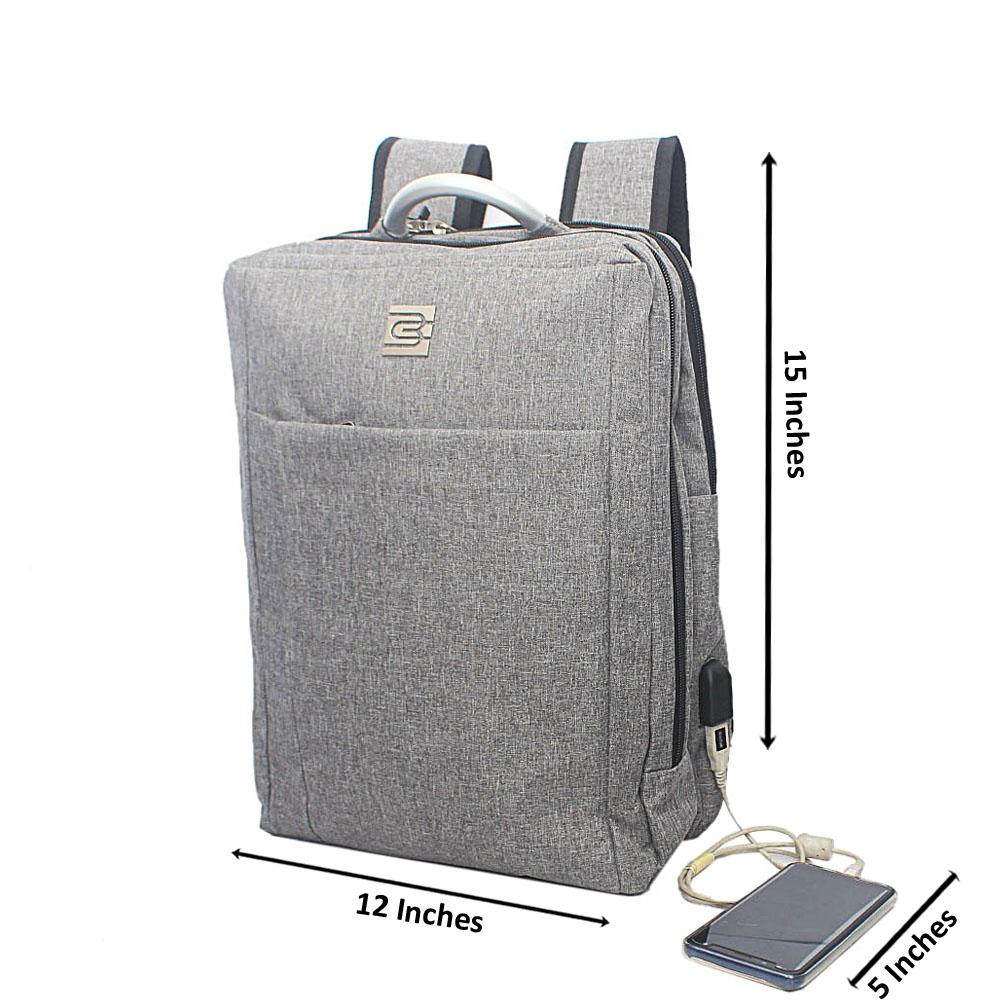 Grey External Bruno Cavali Backpack wt USB Connector