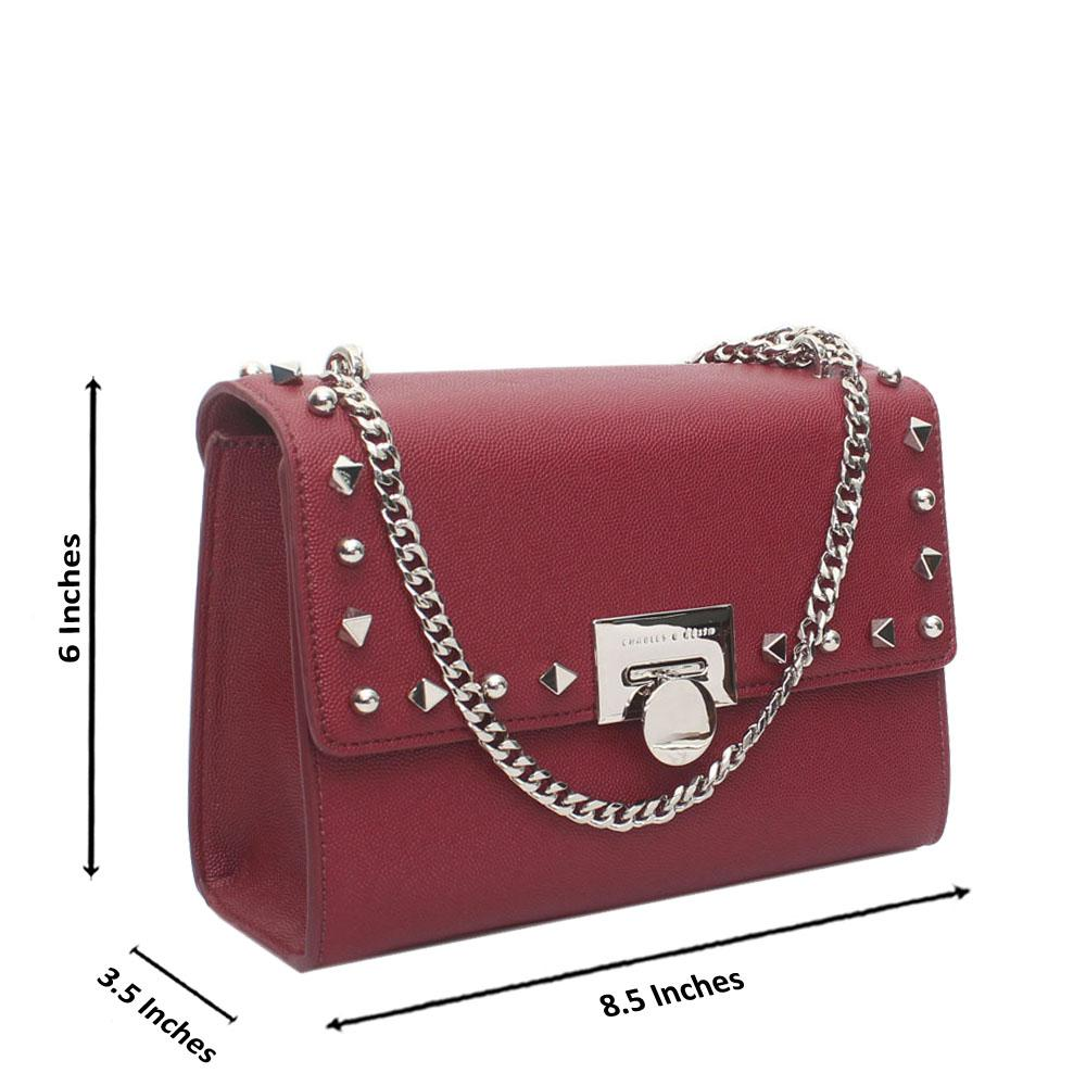 Maroon Studded Leather Crossbody Bag