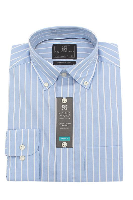 M&S Collection Blue White Striped  L/Sleeve Men Shirt