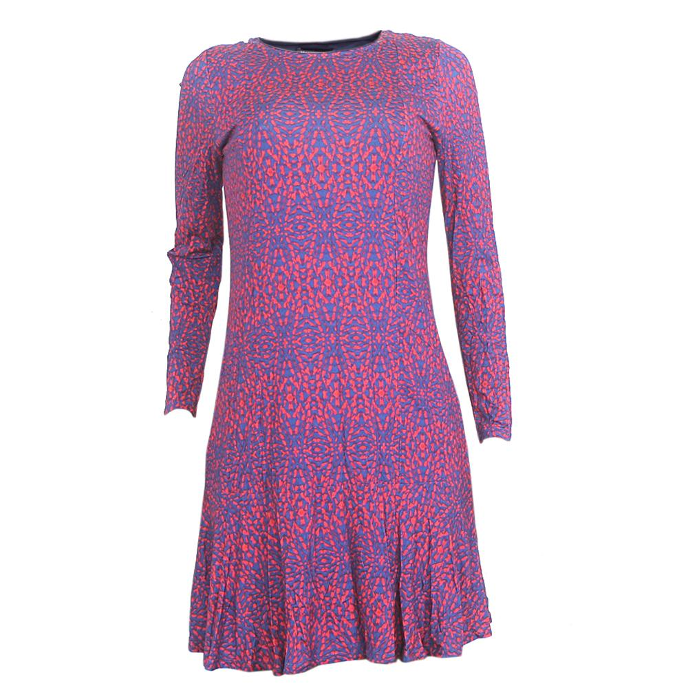 M&S Blue/Red L/Sleeve Cotton  Dress
