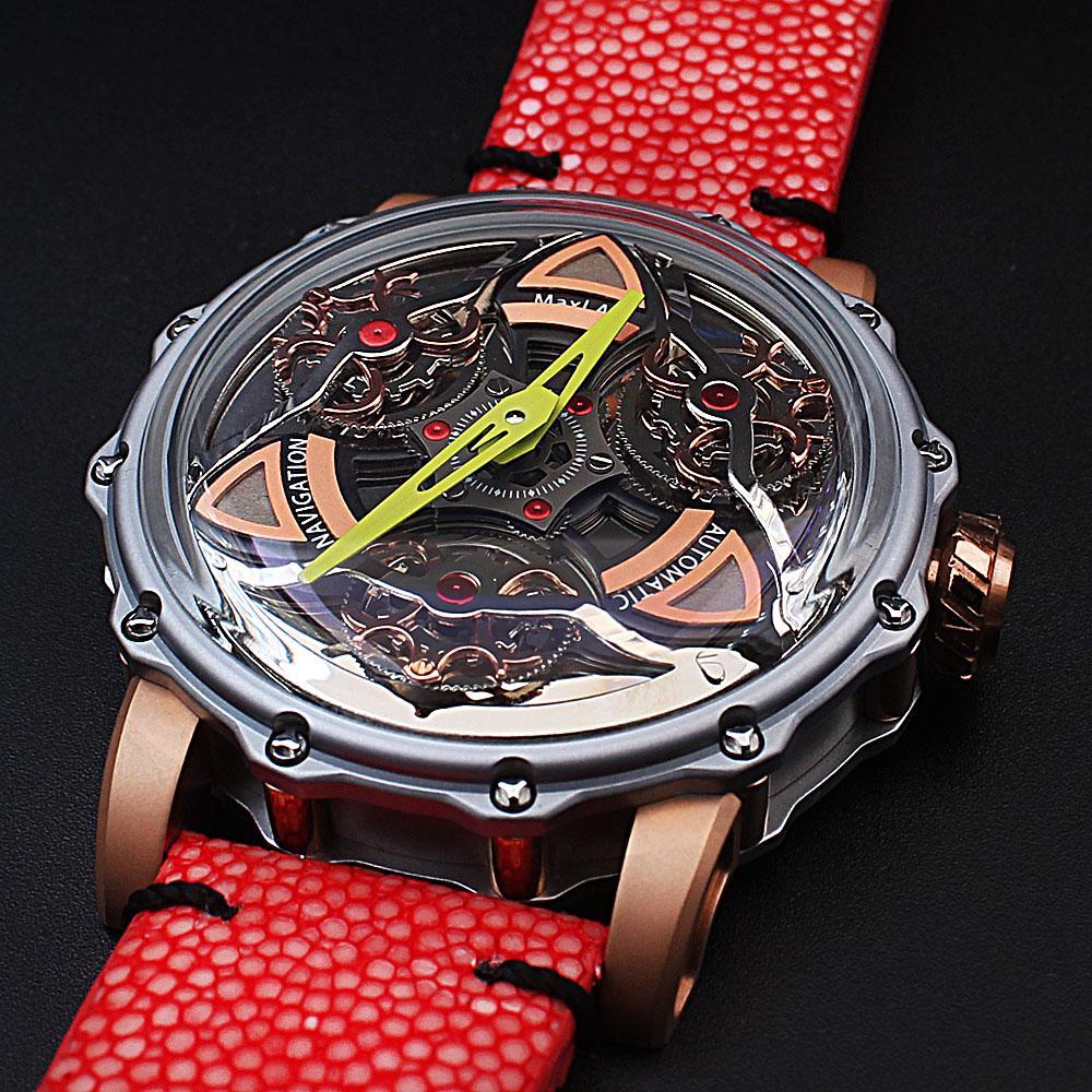MaxLab Navigation Red Snake-Skin Strap Automatic Watch