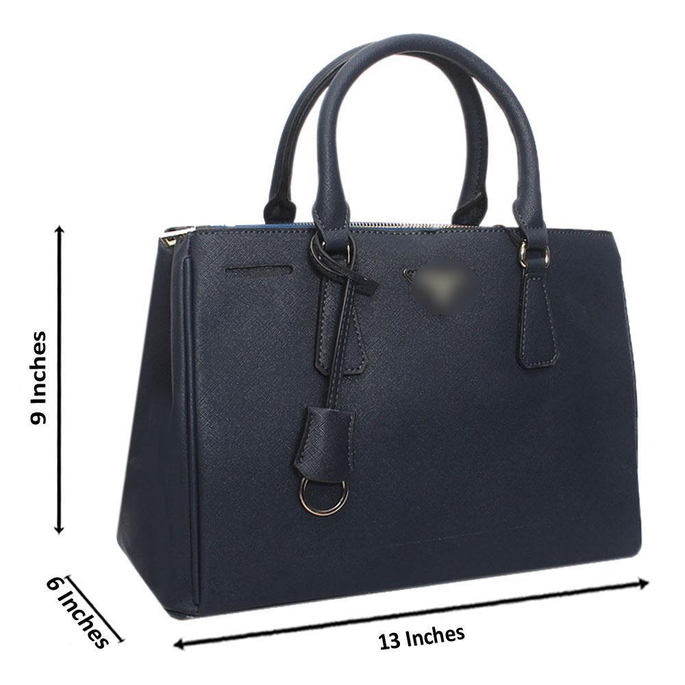 Navy Leather Medium Galleria Handbag
