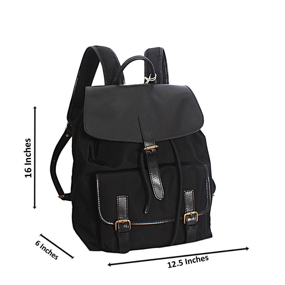 Black Leather and Water Proof Fabric and Leather Backpack