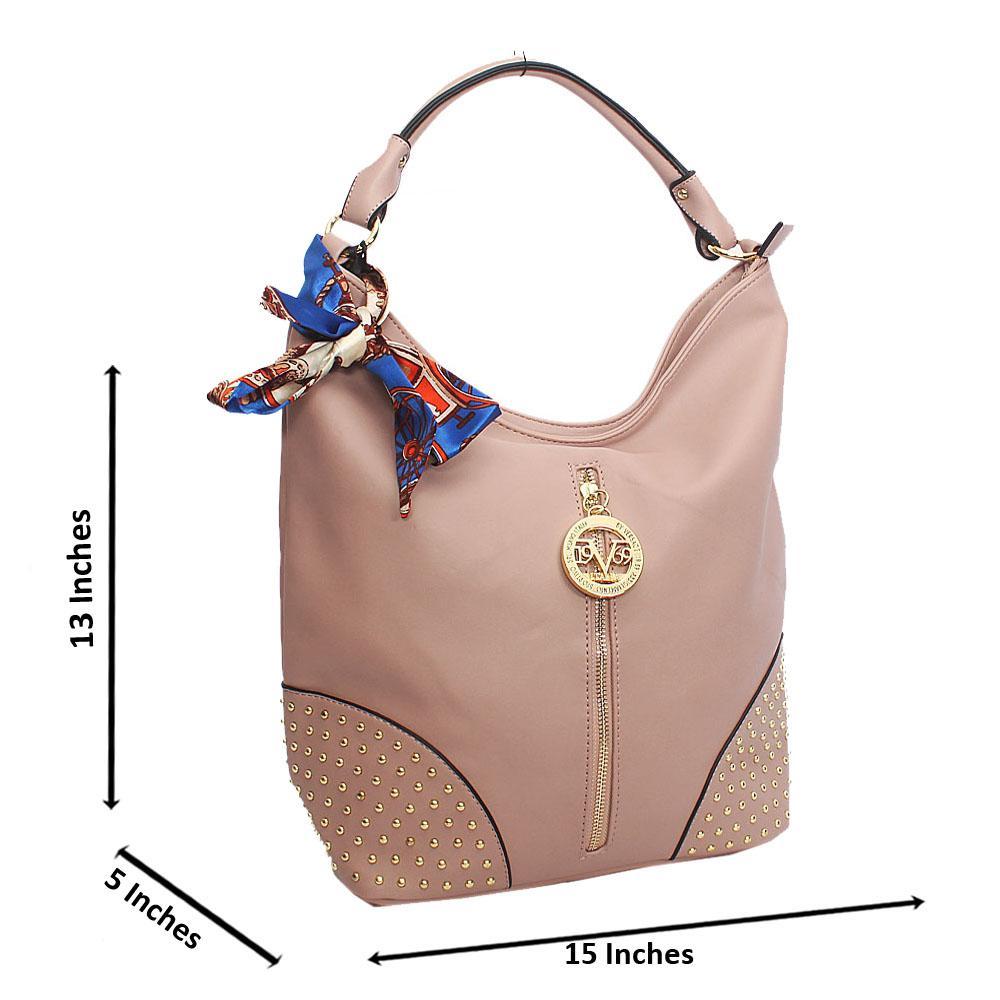 Pink Elegant Studded Leather Shoulder Bag