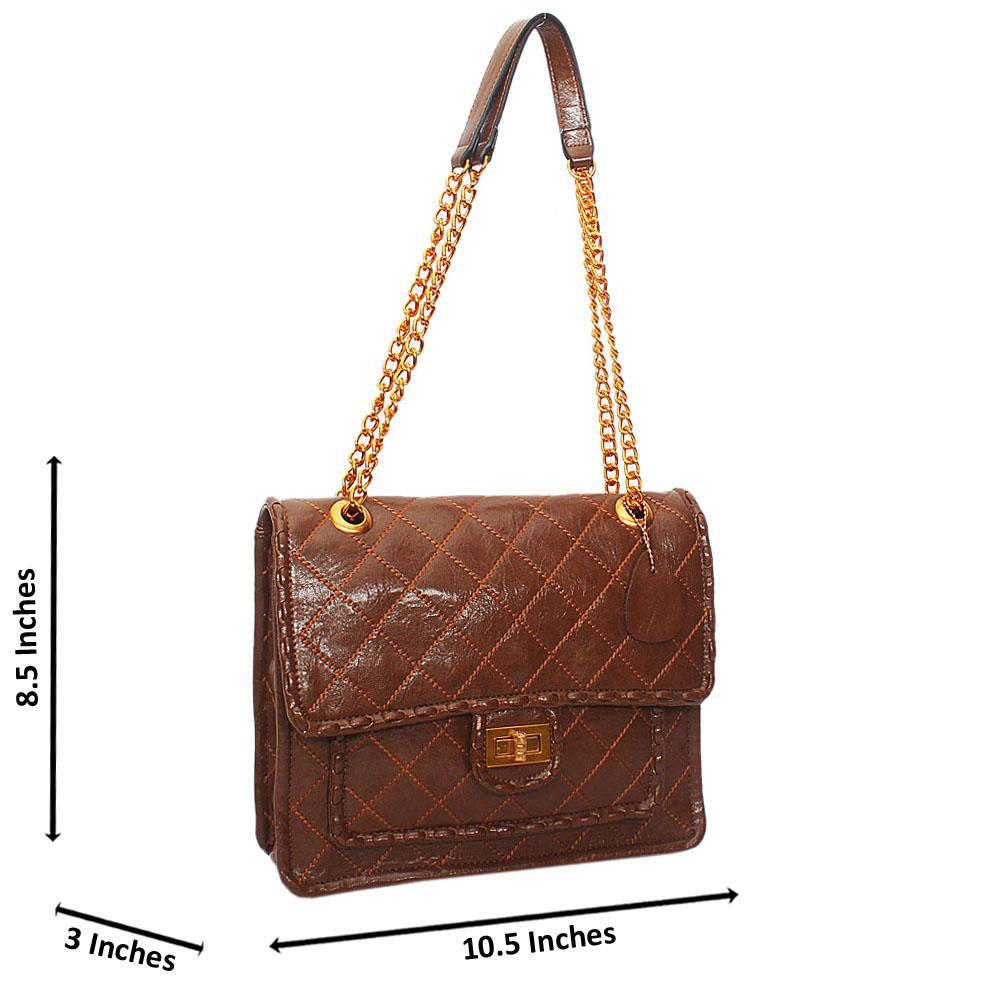 Brown Angelina Threaded Leather Chain Handle shoulder Handbag
