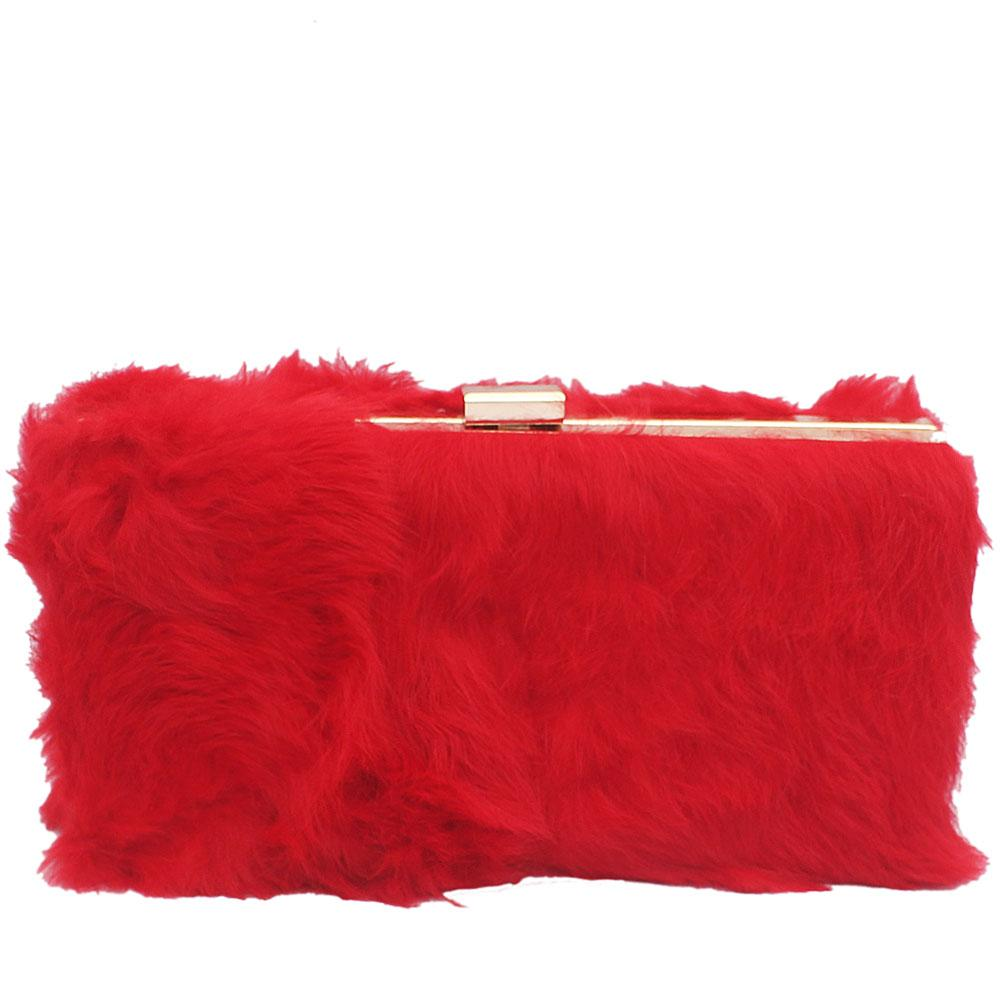 Large Red Hairy Clutch Purse