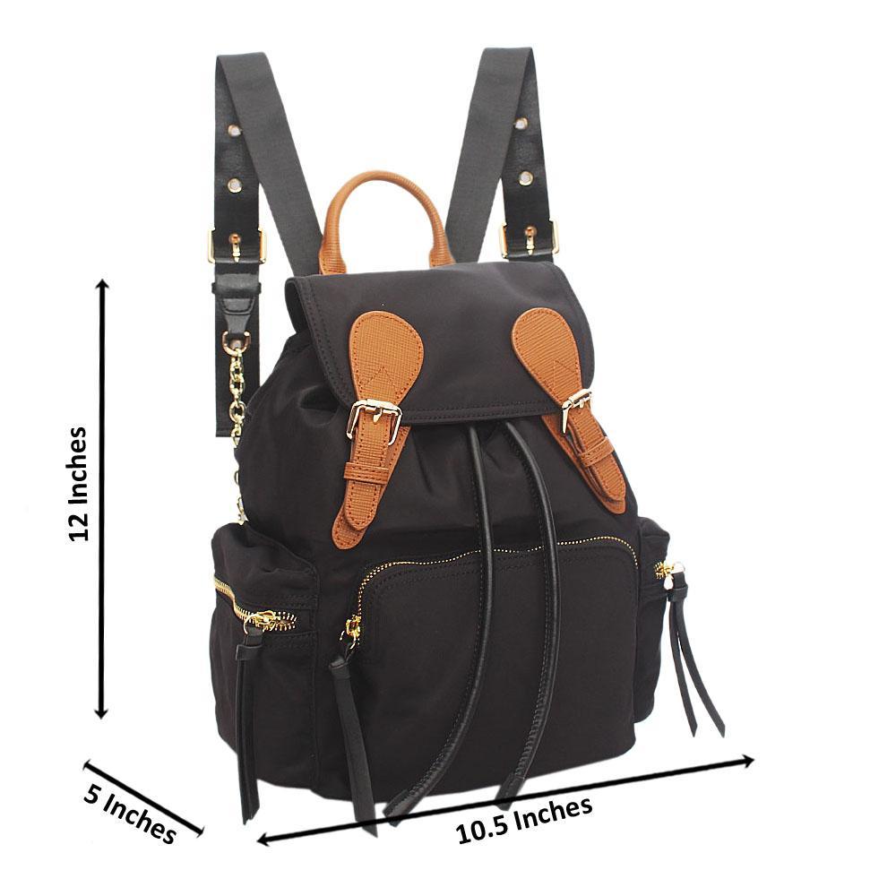 Cuteberry Black Fabric Ladies Backpack