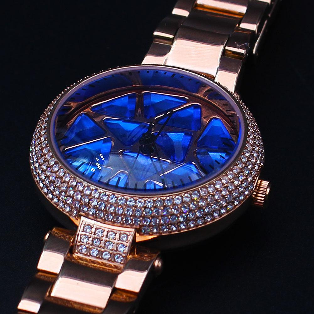 Davinchi Crystals Studded Dagobert Blue Face Gold Spinner Watch