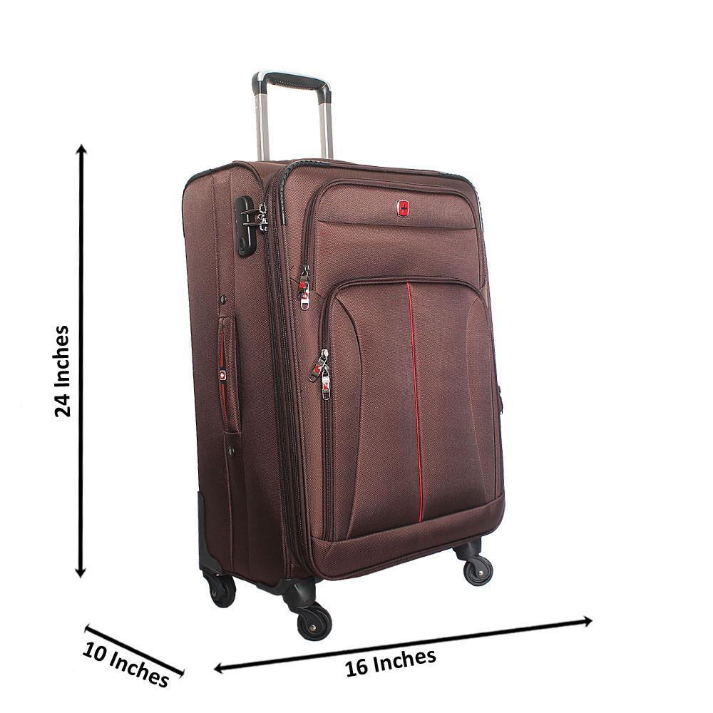 Saint Brown 24 Inch Fabric 4 Wheels Spinners Medium Suitcase