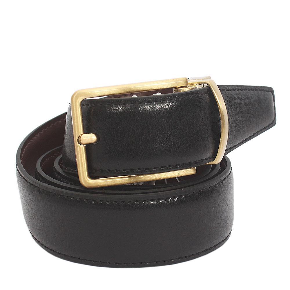 M&S Autograph Gold Buckle Black Brown Leather Reversible Belt L 42 Inch