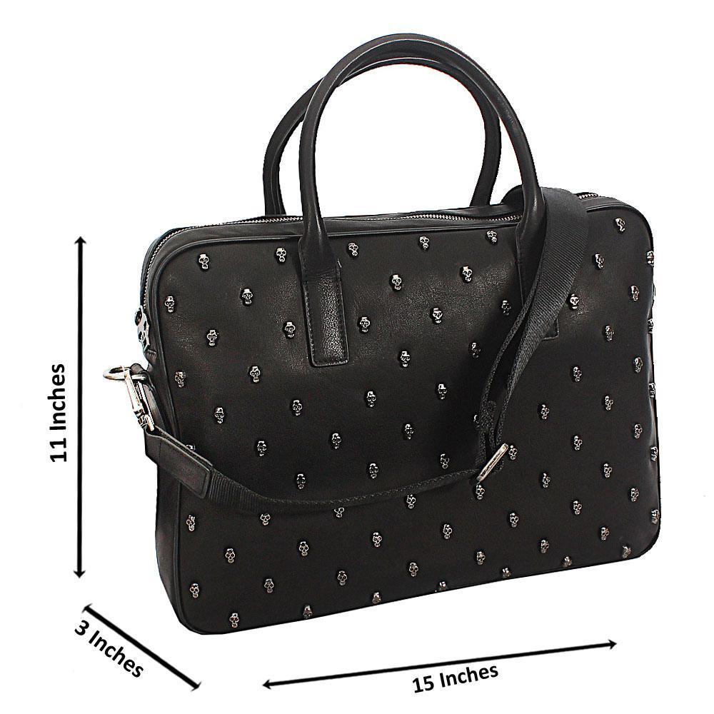 Black Skull Design Leather Briefcase