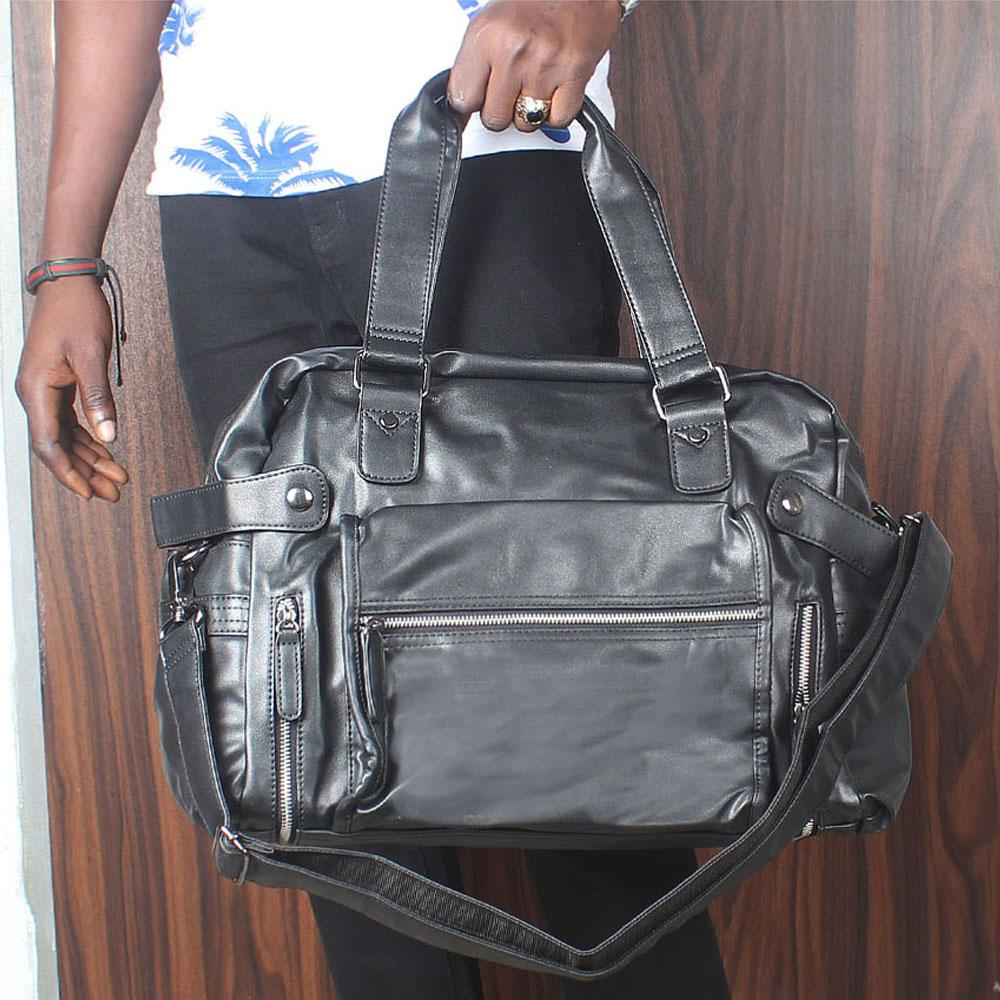 Omelly Black Silver Zip Styled Cassania Leather Man Bag