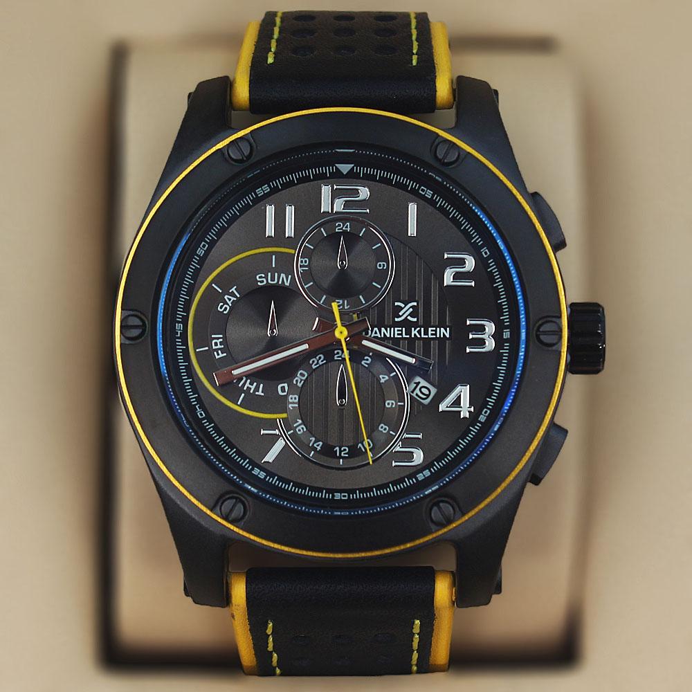 Daniel Klein Classic Black Yellow Leather Sport Series Watch