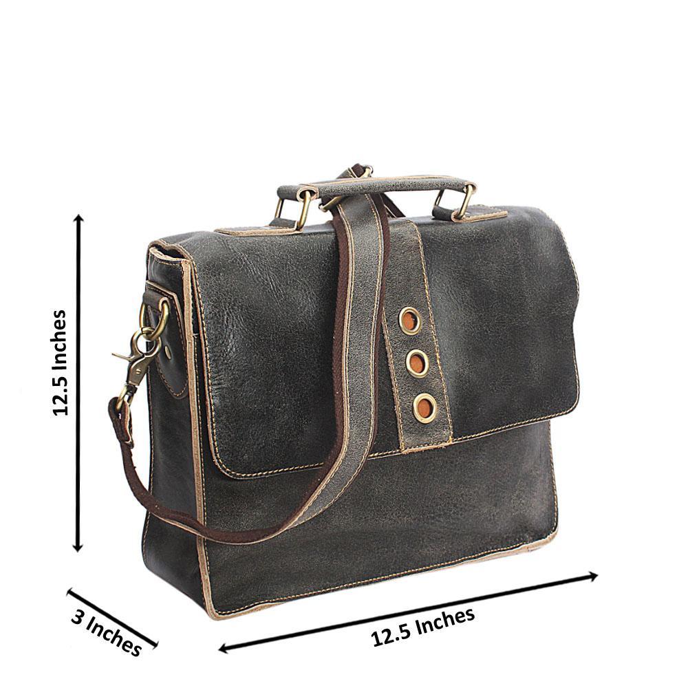 Metalic Grey Handmade Leather Mini Briefcase