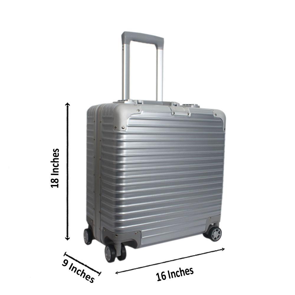 Silver 18 Inch Hardshell Pilot Suitcase Wt TSA Lock