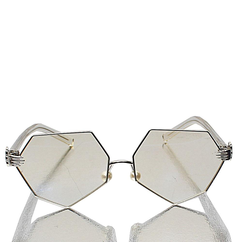 Gold Hectagon Transparent Lens Glasses