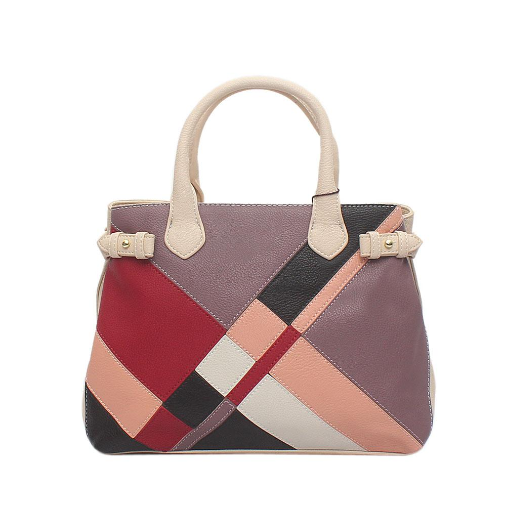 Baboli Cream Lilac Wine Leather Patchwork Bag