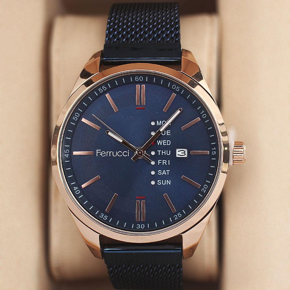 Ferrucci Arsenio Gold Blue Mesh Watch