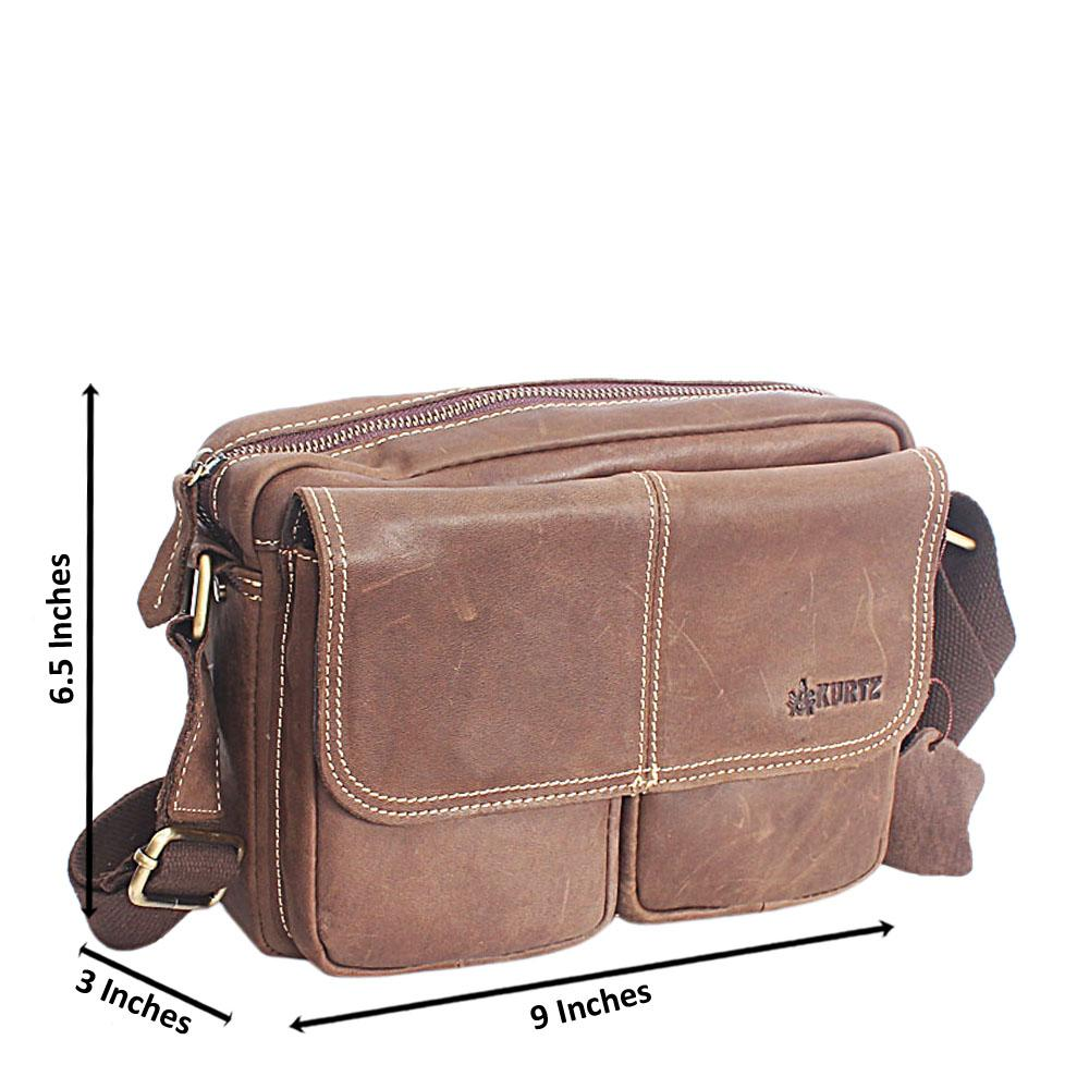 Brownish Green Montanta-Leather Small Man Side Bag