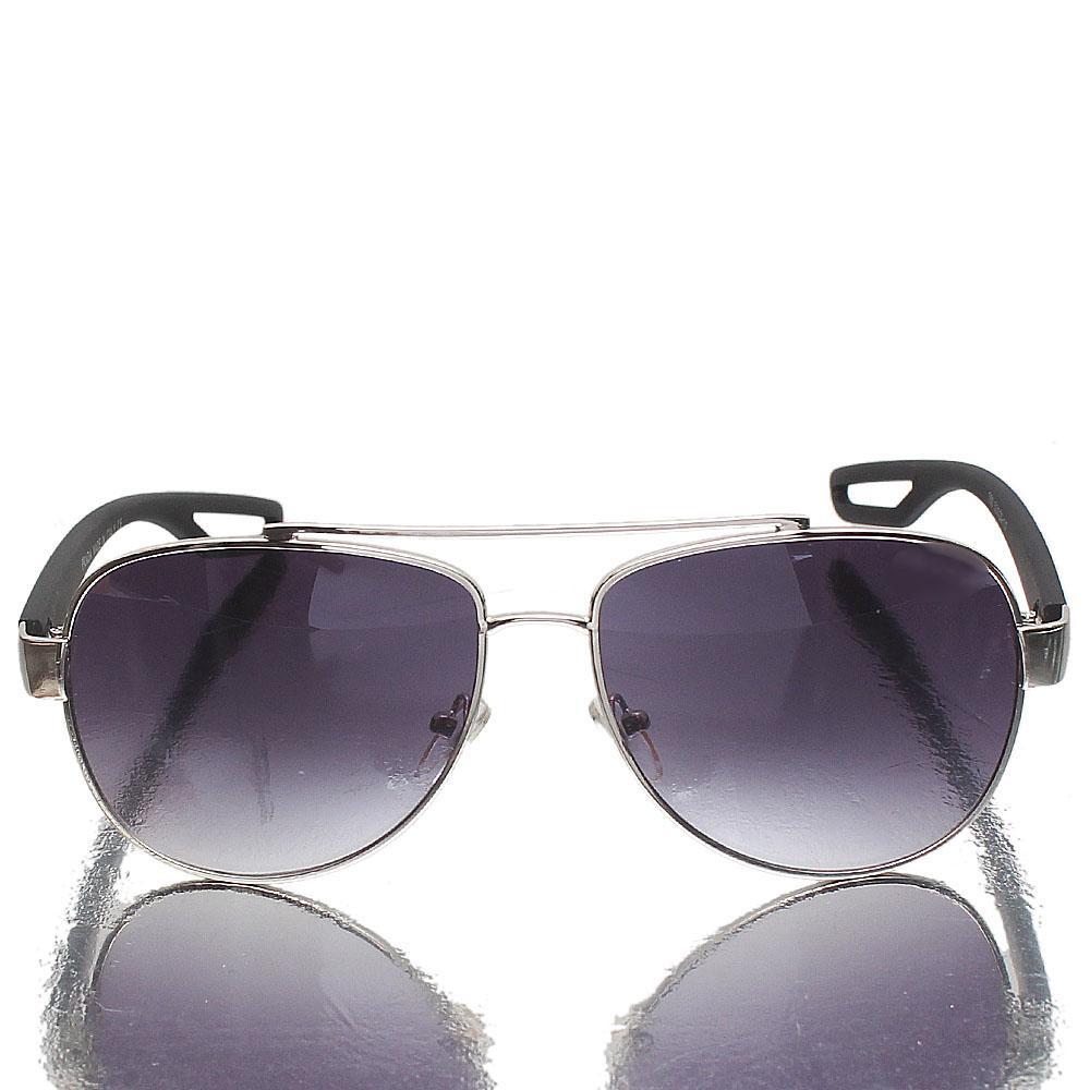 Silver Black Aviator Dark Lens Sunglasses
