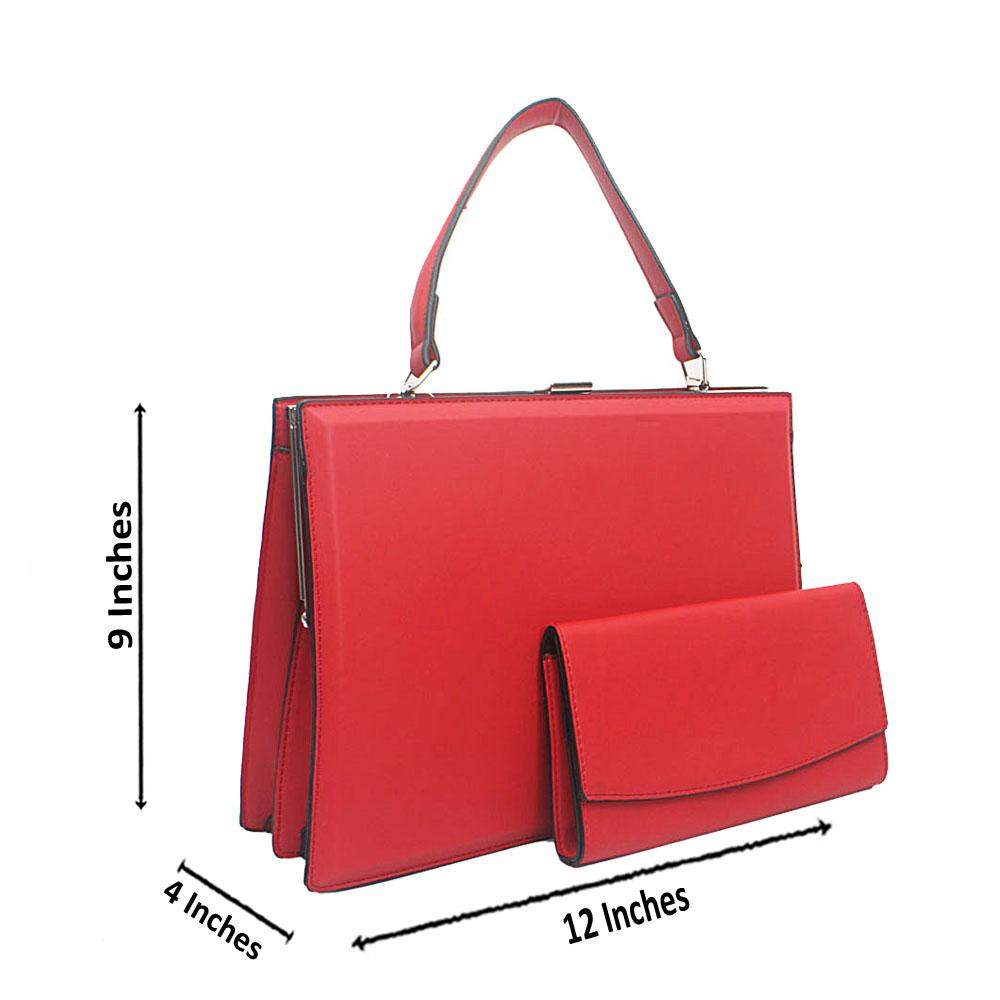 Red Structured Leather Handbag