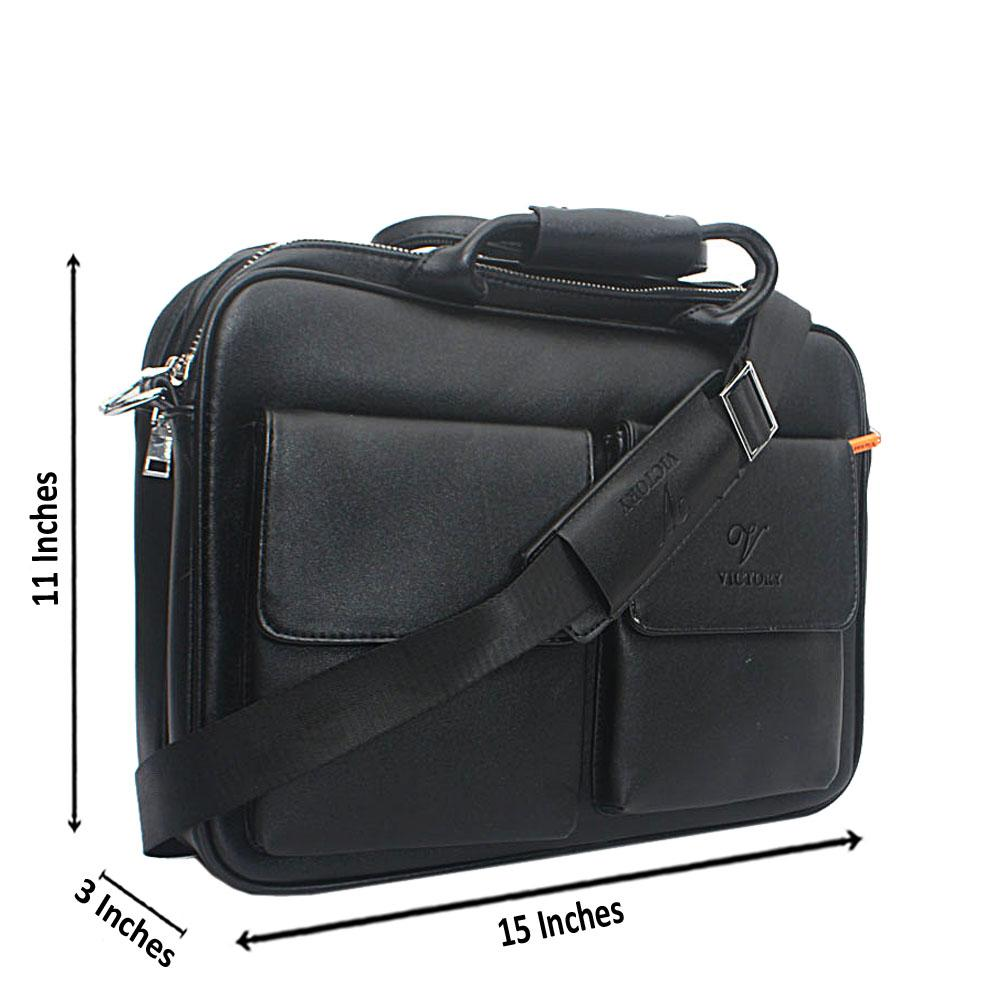 Black Double Zip Leather Messenger Bag