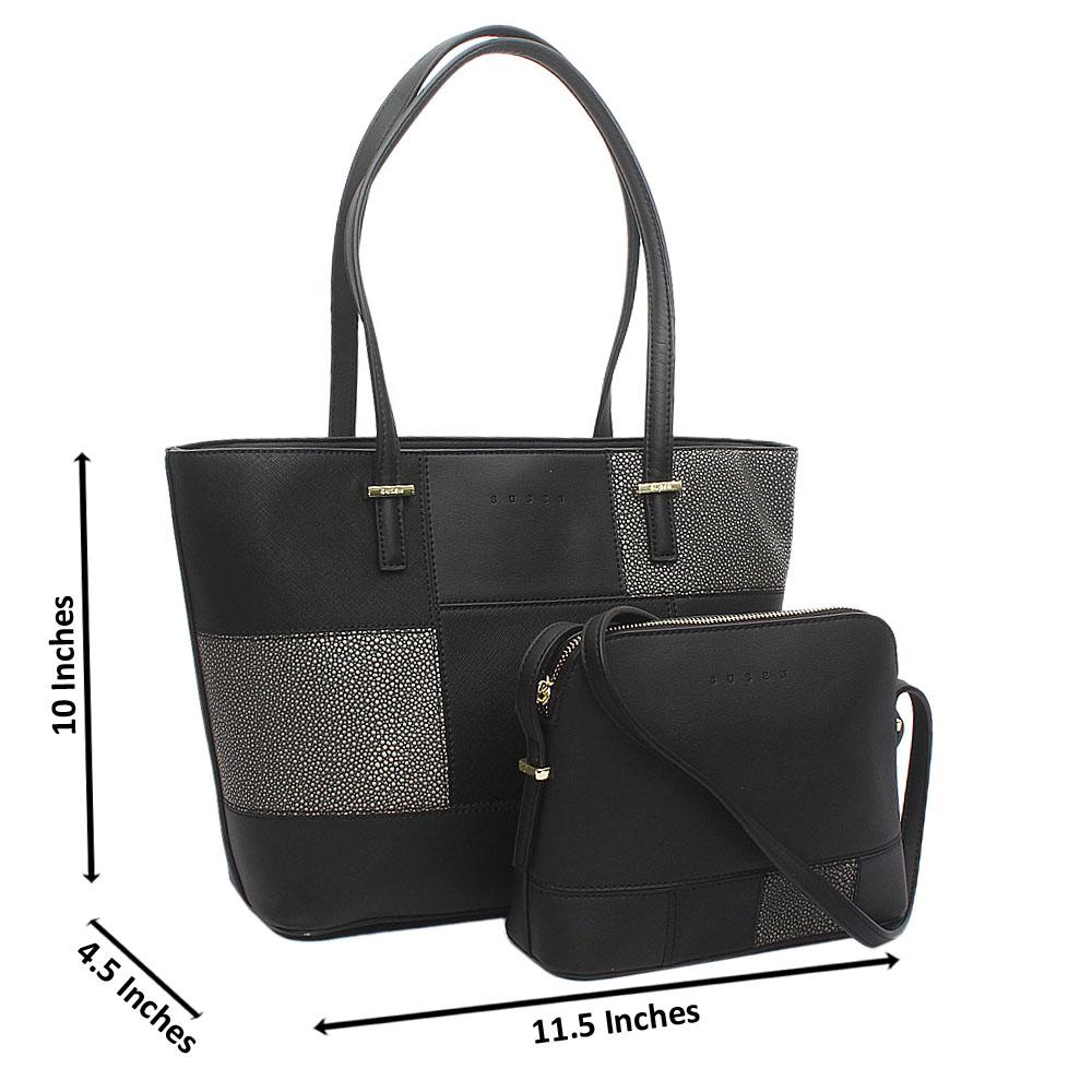 Susen Black Leather 2 in 1 Handbag