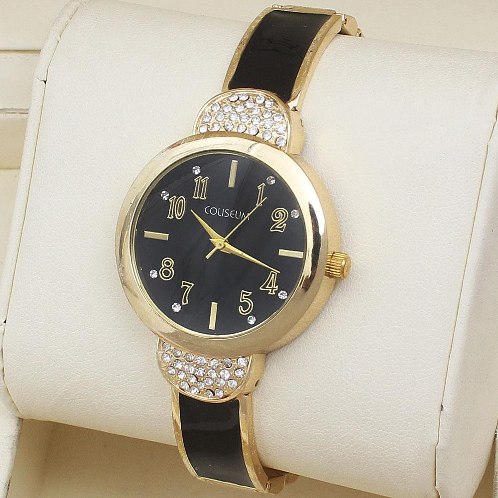 Coliseum EW Lotus Gold Black Studded Ladies Fashion Watch-