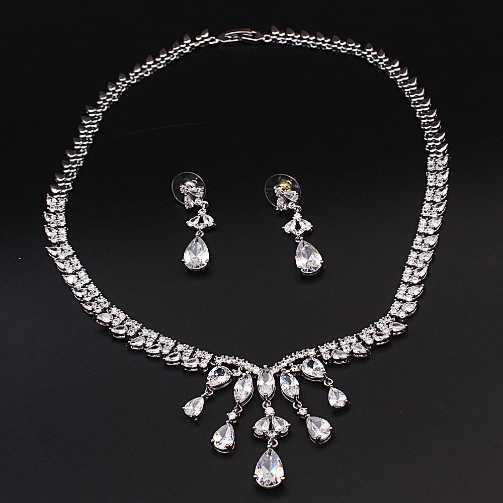 Diane Ross Sterling Silver Bridal Ice Stones Necklace and Earrings Set