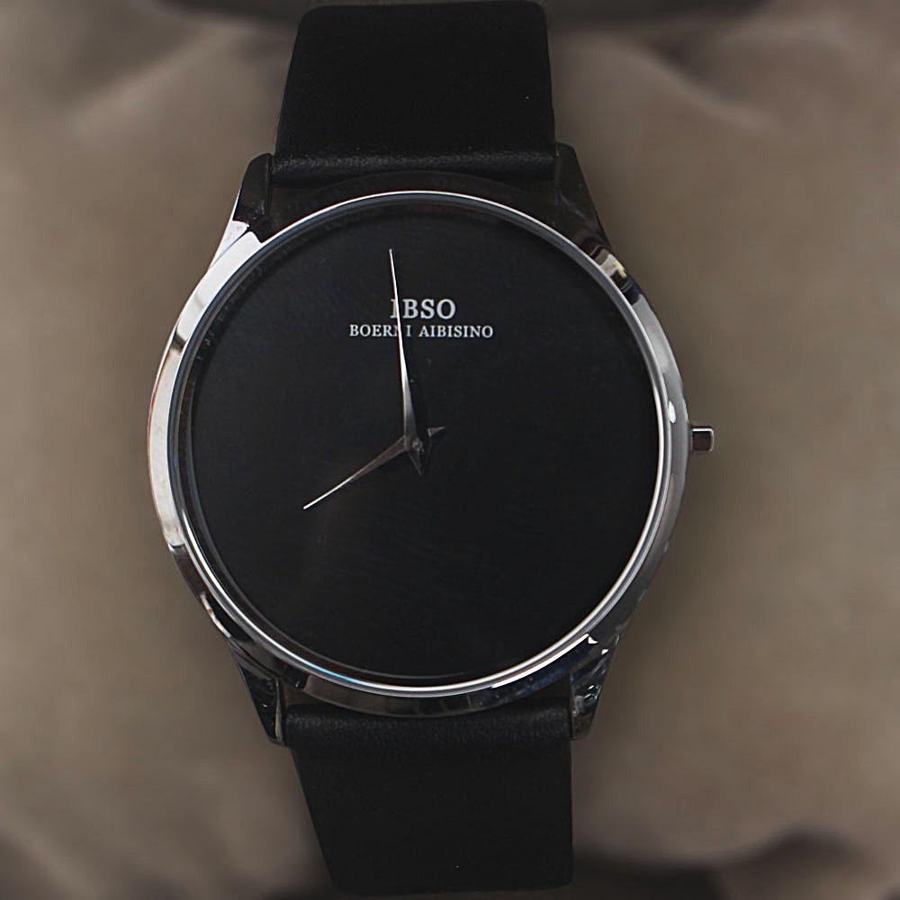 Wellman Silver Black Leather Flat Watch