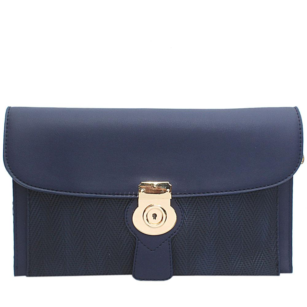 Navy Woven Miliano Style Leather Flat Purse
