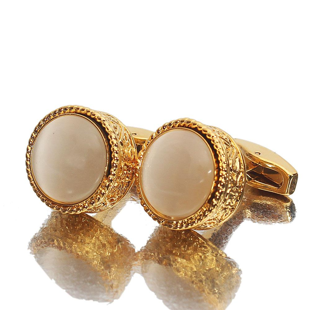 Montego Etched Pearl Gold Stainless Steel Cufflinks