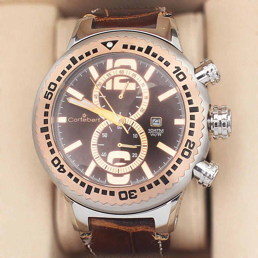 Cortebert 2-Tone Stainless Steel Big Bang Wt Brown Leather 10 ATM Water Res