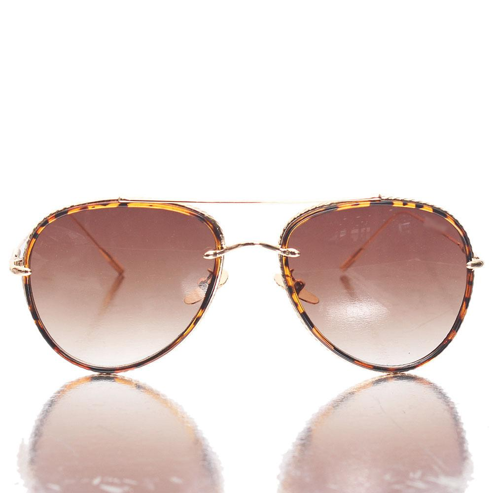 Gold Brown Aviator Sunglasses
