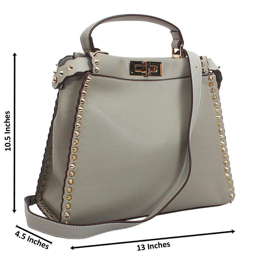 Grey Gold Studded Montana Leather Top Single Handle Bag