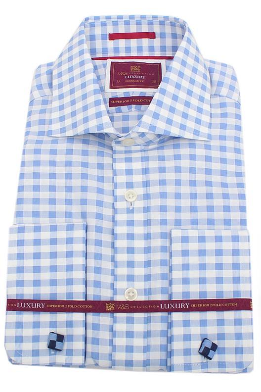 M&S Luxury Blue White Check Regular Fit Men Shirt