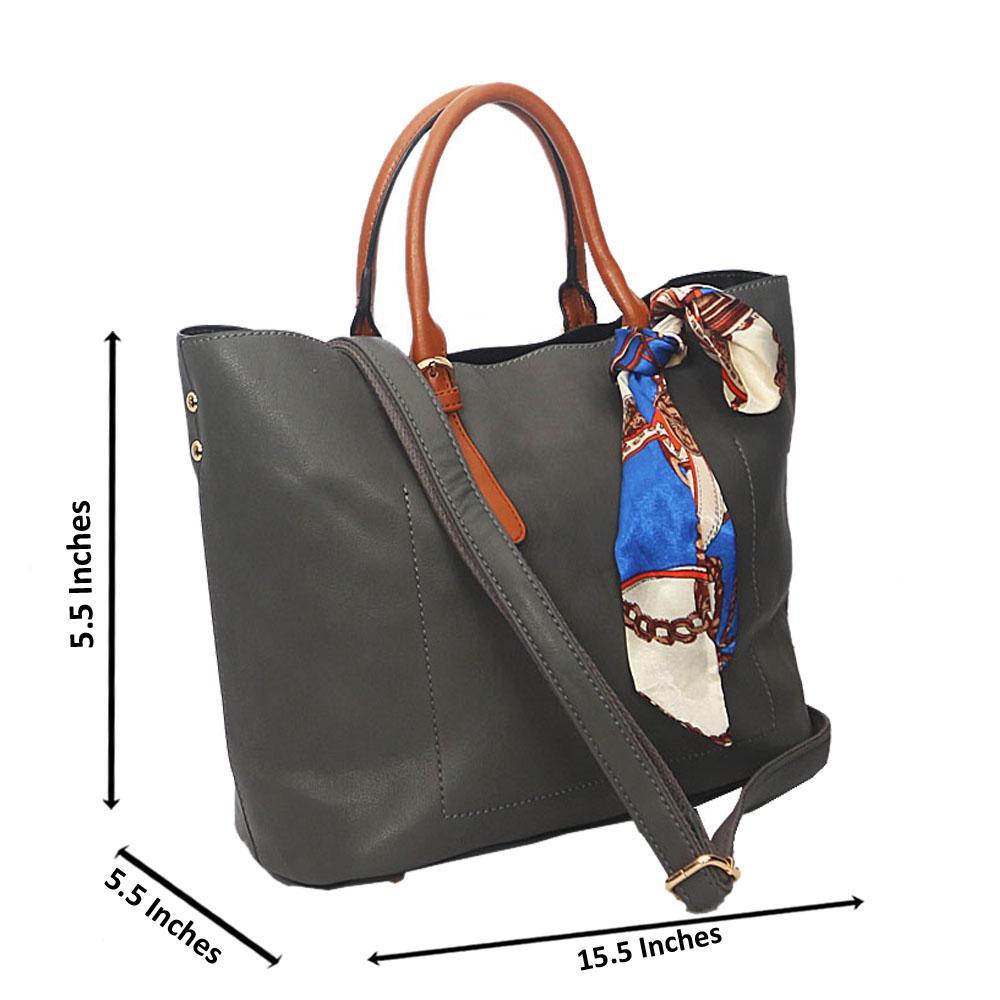 Gray Brown Zoe Leather Tote Handbag