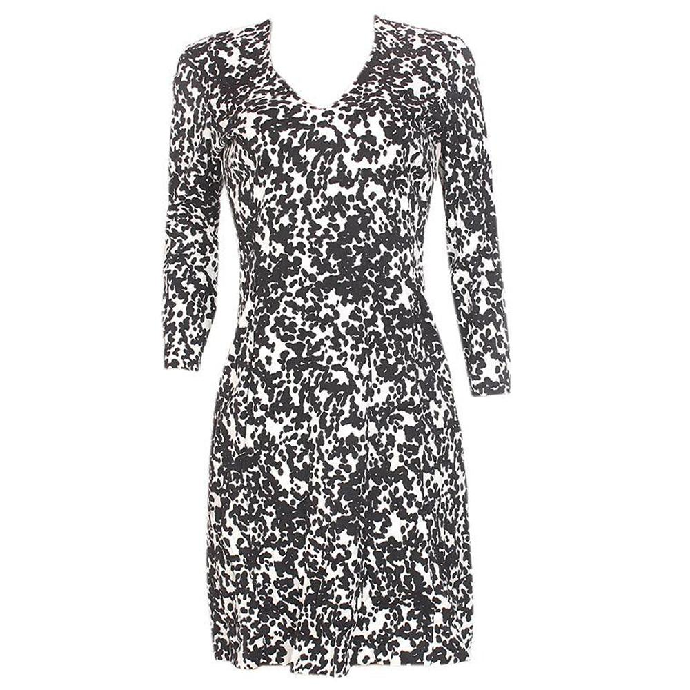 Autograph Black White L/Sleeve Ladies Dress-Uk 14