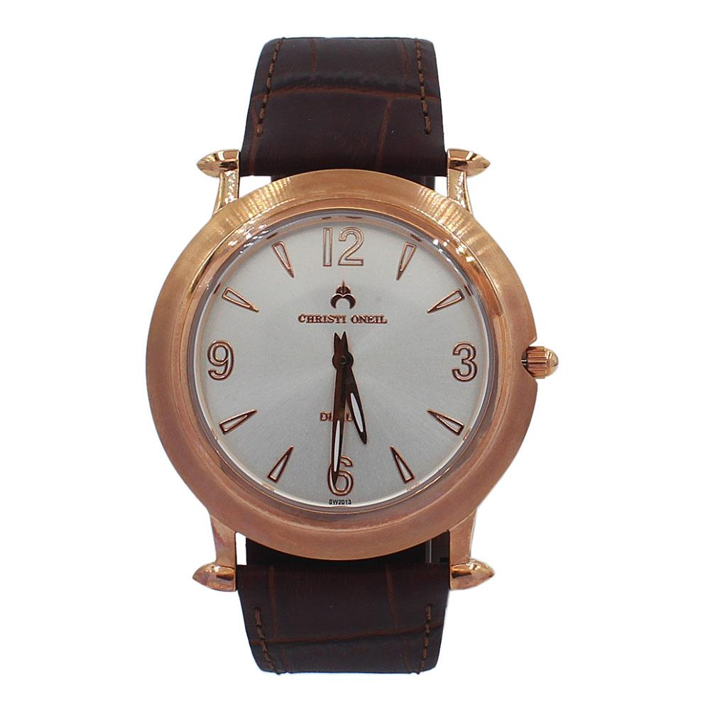 Brown Rose Gold Santiago Leather Flat Watch