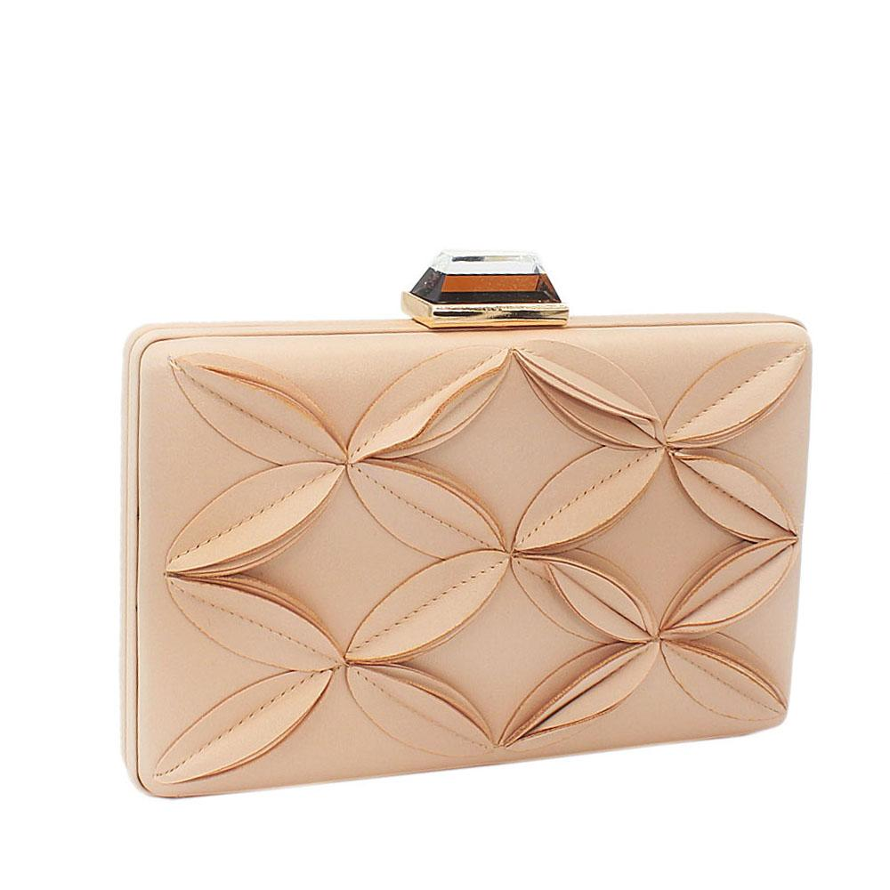 Champagne Satin Flower Patterned Clutch Purse