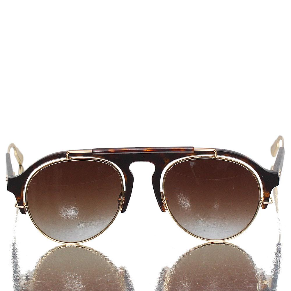 Gold Brown Aviator Brown Lens Sunglasses