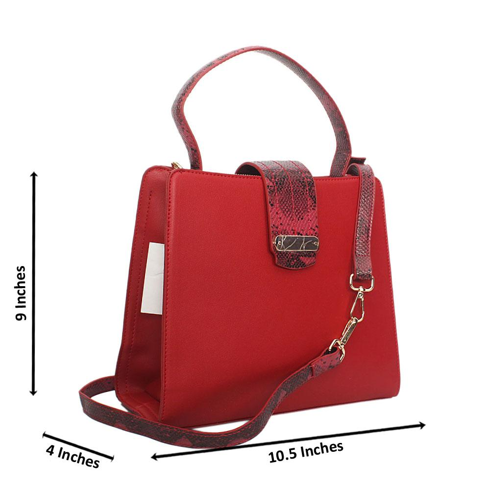 Red Natalia Leather Small Top Handle Handbag